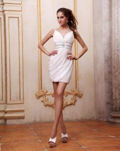 V Ringad Chiffong Flata Parla Short Mini Kvinnor Cocktail Klänning Festklänningar