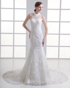 Tulle Applique Juwel-gerichts-zug-hochzeitskleid Brautkleider