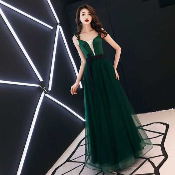 Sexy Jade Green Evening Dresses  2019 A-Line / Princess V-Neck Spaghetti Straps Sleeveless Bow Sash Floor-Length / Long Ruffle Backless Formal Dresses