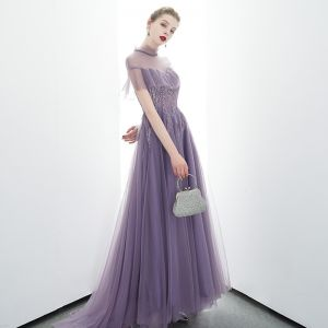 Elegant Grape See-through Evening Dresses  2020 A-Line / Princess High Neck Short Sleeve Beading Sweep Train Ruffle Backless Formal Dresses