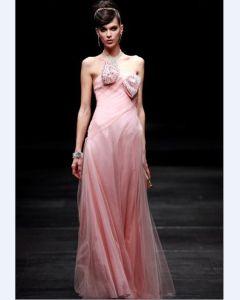 Les Robes De Soirée De Bowknot Perles A-ligne Bretelles Longueur De Plancher De Femmes