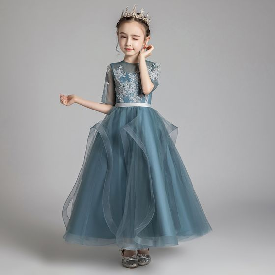 Chic / Beautiful Ink Blue See-through Flower Girl Dresses 2020 A-Line / Princess Scoop Neck 1/2 Sleeves Sash Appliques Lace Beading Floor-Length / Long Ruffle Wedding Party Dresses
