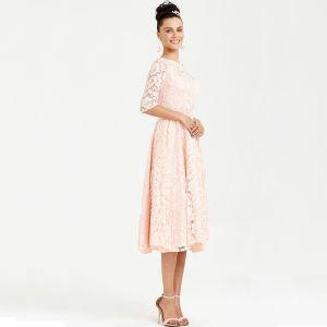 Chic / Belle Rougissant Rose Robe De Soirée 2020 Princesse 1/2 Manches Thé Longueur V-Cou Perlage Cristal Brodé Faux Diamant Cocktail Soirée Robe De Ceremonie
