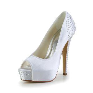 Chaussures De Mariée En Satin De Mode Peep Escarpins De Plateforme De Pointe Avec Strass