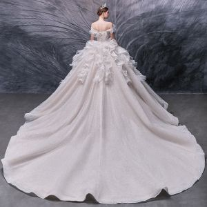Luxury / Gorgeous Champagne Bridal Wedding Dresses 2020 Ball Gown Off-The-Shoulder Short Sleeve Backless Glitter Tulle Beading Pearl Sequins Cathedral Train Ruffle