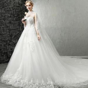 Chinese style White Pierced Wedding Dresses 2017 A-Line / Princess High Neck Sleeveless Backless Appliques Lace Royal Train