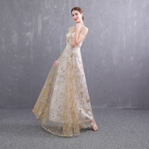 Affordable Gold See-through Evening Dresses  2019 A-Line / Princess Scoop Neck Sleeveless Sash Glitter Sequins Floor-Length / Long Ruffle Backless Formal Dresses