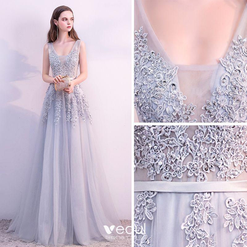 Piękne Szary Sukienki Wieczorowe 2018 Princessa Koronkowe Kwiat Perła Cekiny Szarfa U-Szyja Bez Rękawów Bez Pleców Długie Sukienki Wizytowe