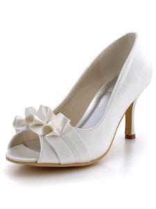 Tete De Poisson Chaussures De Mariage A Talons Hauts, Chaussures De Soirée Etals De Fleurs En Satin Plis