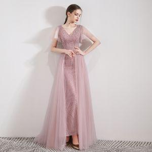 Elegante Pink Abendkleider 2019 Meerjungfrau V-Ausschnitt Kurze Ärmel Pailletten Perlenstickerei Abnehmbar Sweep / Pinsel Zug Rüschen Rückenfreies Festliche Kleider