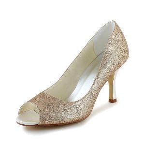 Scintillant Champagne Peep Toe Chaussures De Mariée Glitter Pompes À Talons Aiguilles