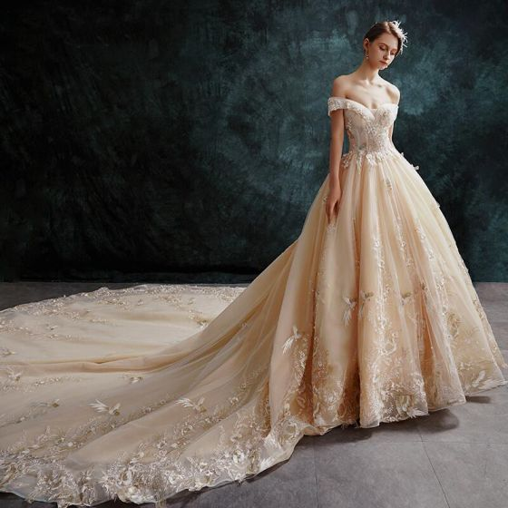 Luxury Gorgeous Champagne Wedding Dresses 2019 Ball Gown Off The Shoulder Beading Pearl Lace Flower Sequins Short Sleeve Backless Cathedral Train