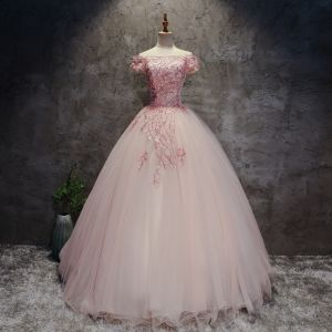 Modern / Fashion Pearl Pink Prom Dresses 2017 Ball Gown Off-The-Shoulder Short Sleeve Appliques Lace Flower Pearl Rhinestone Floor-Length / Long Ruffle Backless Formal Dresses