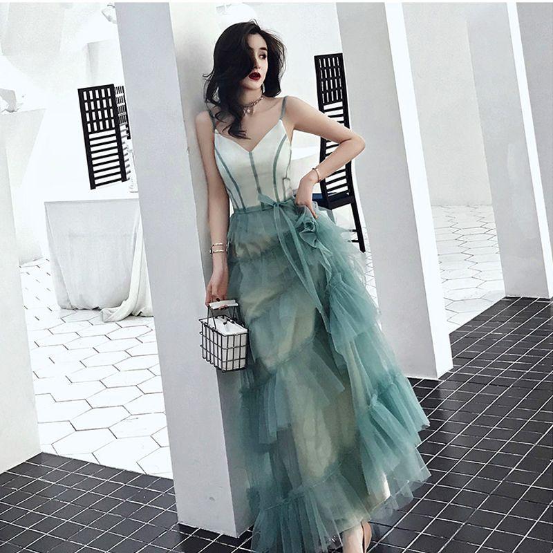 Modern / Fashion Gradient-Color Evening Dresses  2019 A-Line / Princess Spaghetti Straps Bow Sleeveless Backless Floor-Length / Long Formal Dresses
