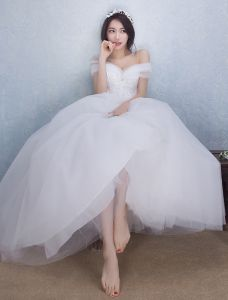 Belles Robe De Mariée 2016 Robe De Bal De L'épaule À Long Tulle Bowknot Corset Robe De Mariée