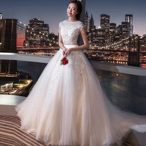 Chic / Belle 2 Pièces Blanche Mariage 2017 Princesse U-Cou En Dentelle Tulle Perlage Appliques Dos Nu Robe De Mariée