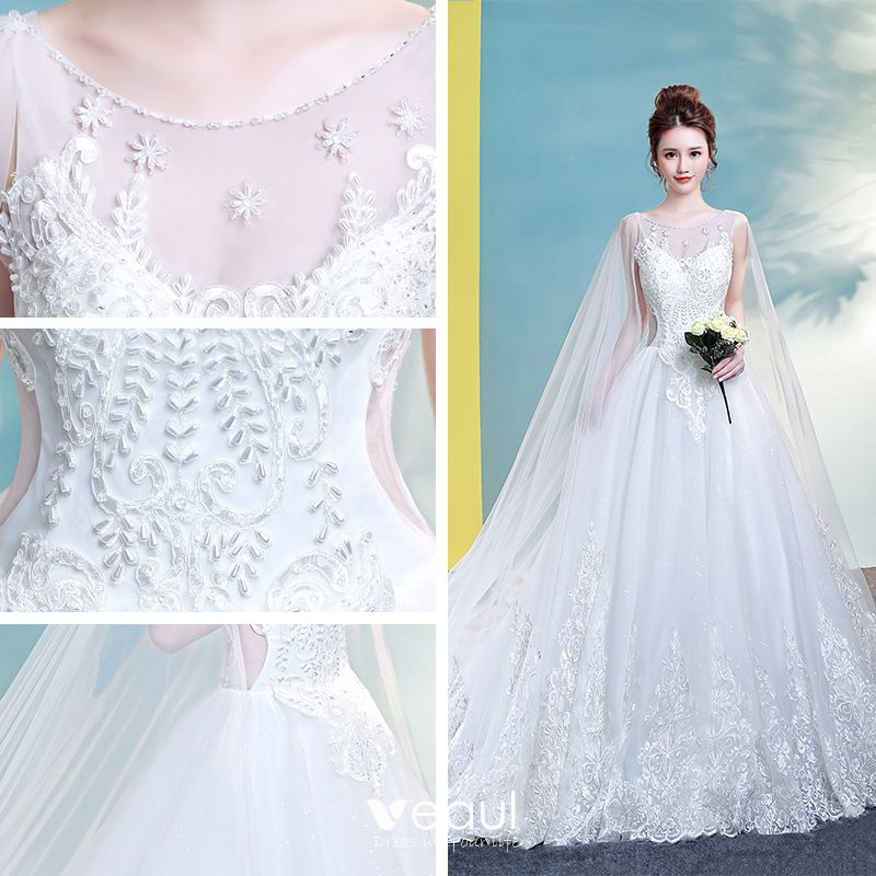 Chic / Beautiful Church Wedding Dresses 2017 White Ball Gown Cathedral Train Scoop Neck Backless Sleeveless Beading Lace Appliques
