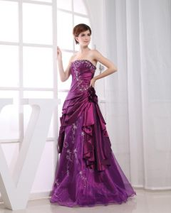 Chiffon Yarn Silk Sequins Strapless Ruffle Embroidered Sleeveless Floor Length Pleated Prom Dress