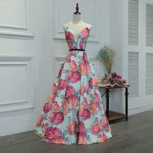 Wróżka Kwiatowa Multi-Kolory Długie Sukienki Wieczorowe 2018 Princessa V-Szyja Charmeuse Bez Pleców Druk Wieczorowe Sukienki Na Bal