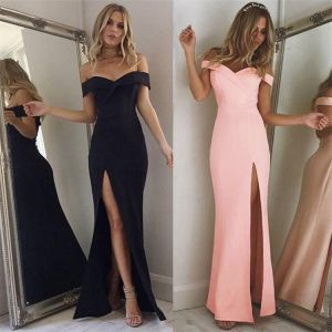Sexy Candy Roze Maxi-jurken 2018 Trompet / Zeemeermin Split Voorzijde Uit De Schouder Ruglooze Korte Mouwen Lange Dameskleding