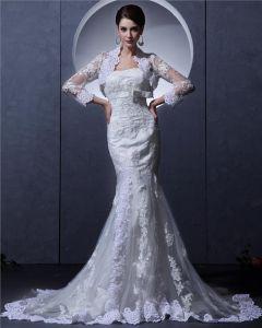 Tulle Bördelte Trägerlosen Gericht Mantel Brautkleider Hochzeitskleid