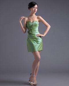 Vestido De Cóctel De Tafetán Longitud Del Muslo De La Moda Apliques Novia