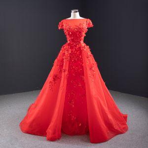 Haut de Gamme Rouge Perle Appliques Robe De Mariée 2020 Princesse Encolure Carrée Manches Courtes Dos Nu Watteau Train