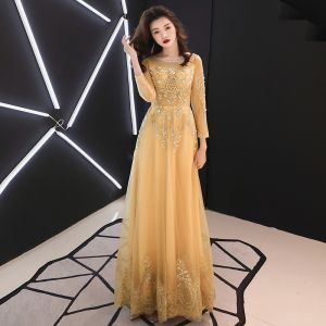 Chic / Beautiful Gold Evening Dresses  2019 A-Line / Princess Scoop Neck Beading Pearl Lace Flower Rhinestone 3/4 Sleeve Backless Floor-Length / Long Formal Dresses