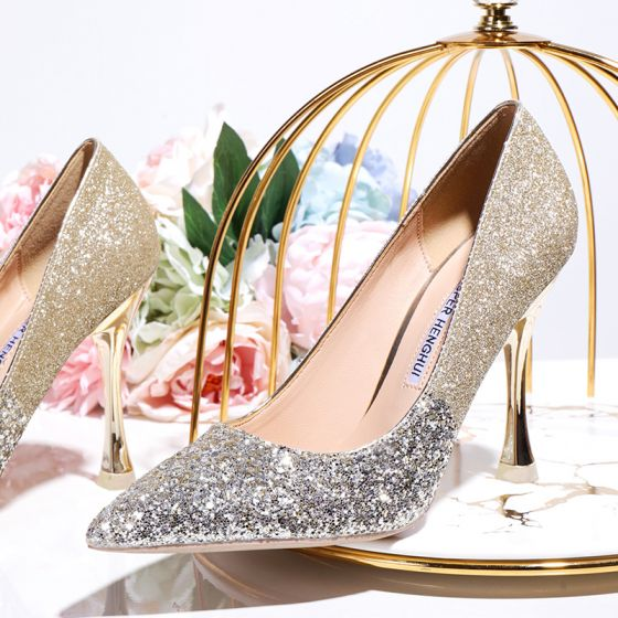 Sparkly Gold Sequins Wedding Shoes 2020 10 cm Stiletto Heels Pointed Toe Wedding Pumps