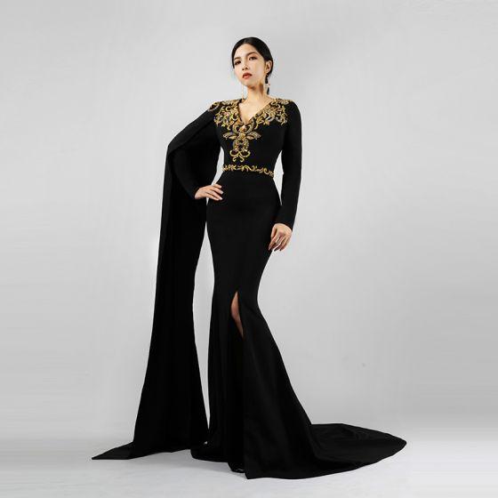 Luksusowe Czarne Sukienki Wieczorowe 2021 Syrena / Rozkloszowane V-Szyja Długie Rękawy Aplikacje Z Koronki Frezowanie Podział Przodu Trenem Sweep Sukienki Wizytowe