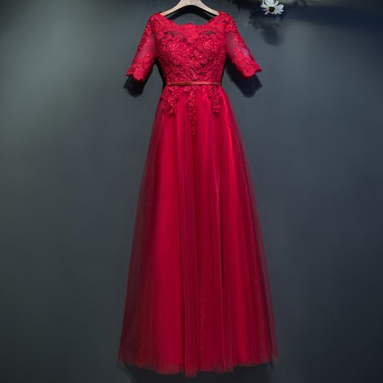Piękne Czerwone Sukienki Wizytowe 2017 Z Koronki Kwiat Wiązane Wycięciem 1/2 Rękawy Długość Kostki Imperium Sukienki Wieczorowe
