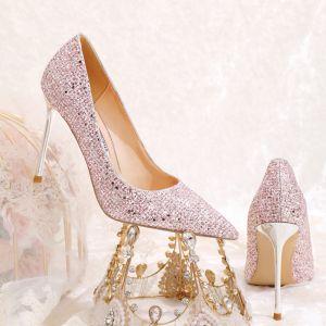 Scintillantes Charmant Rougissant Rose Paillettes Chaussure De Mariée 2020 10 cm Talons Aiguilles À Bout Pointu Mariage Escarpins