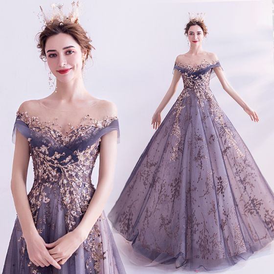 Elegant Purple Glitter Prom Dresses 2020 A-Line / Princess Scoop Neck Beading Rhinestone Sequins Lace Flower Short Sleeve Backless Sweep Train Formal Dresses