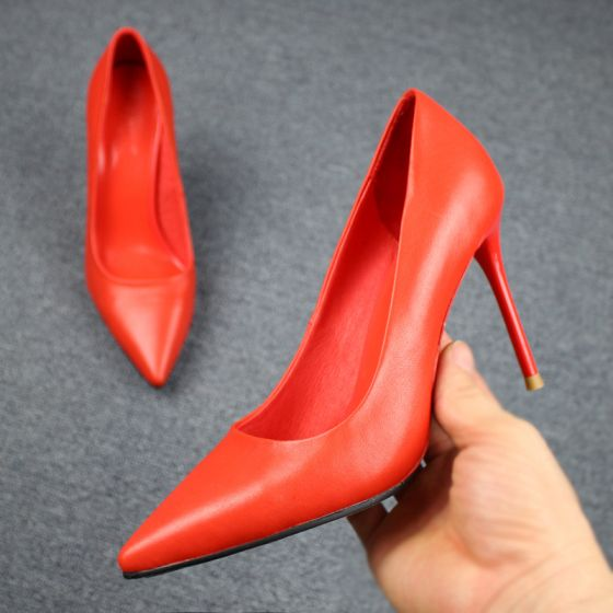 Modest / Simple Red Casual Pumps 2019 Leather 9 cm Stiletto Heels Pointed Toe Pumps