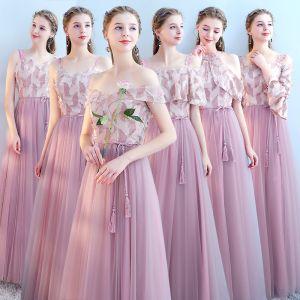Erschwinglich Rosa Brautjungfernkleider 2019 A Linie Stoffgürtel Lange Rüschen Kleider Für Hochzeit