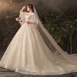 Scintillantes Bling Bling Champagne Grande Taille Robe De Mariée 2019 Princesse V-Cou Tulle Glitter Paillettes Chapel Train Mariage