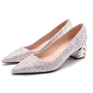 Sparkly Blushing Pink Wedding Shoes 2018 Leather Glitter Sequins 5 cm Pearl Rhinestone Thick Heels Pointed Toe Wedding Pumps