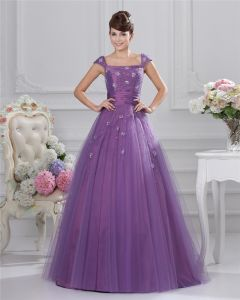 Plus Size Organza Ruffle Beads Square Neck Floor Length Prom Dresses