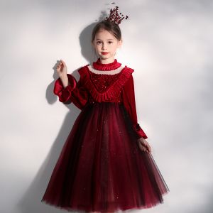 Vintage / Retro Burgundy Velour See-through Birthday Flower Girl Dresses 2020 Ball Gown High Neck Puffy Long Sleeve Sequins Bow Glitter Tulle Tea-length Ruffle