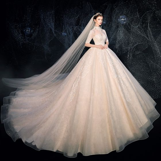 Vintage / Retro Ivory See-through Wedding Dresses 2020 Ball Gown High Neck 1/2 Sleeves Backless Appliques Lace Beading Cathedral Train Ruffle