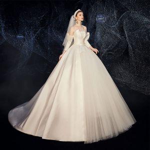 Amazing / Unique Champagne Satin Wedding Dresses 2020 A-Line / Princess Strapless Detachable 3/4 Sleeve Backless Court Train Ruffle