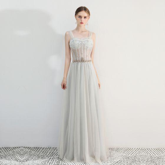 Chic / Belle Gris Robe De Bal 2019 Princesse Encolure Carrée Perlage Faux Diamant Sans Manches Dos Nu Longue Robe De Ceremonie