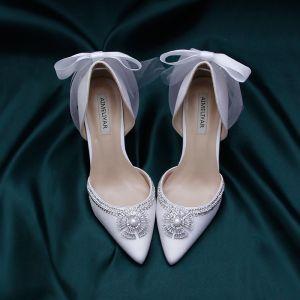 Charmerende Ivory Satin Brudesko 2020 Sløjfe Perle Krystal Rhinestone 9 cm Stiletter Spidse Tå Bryllup Pumps