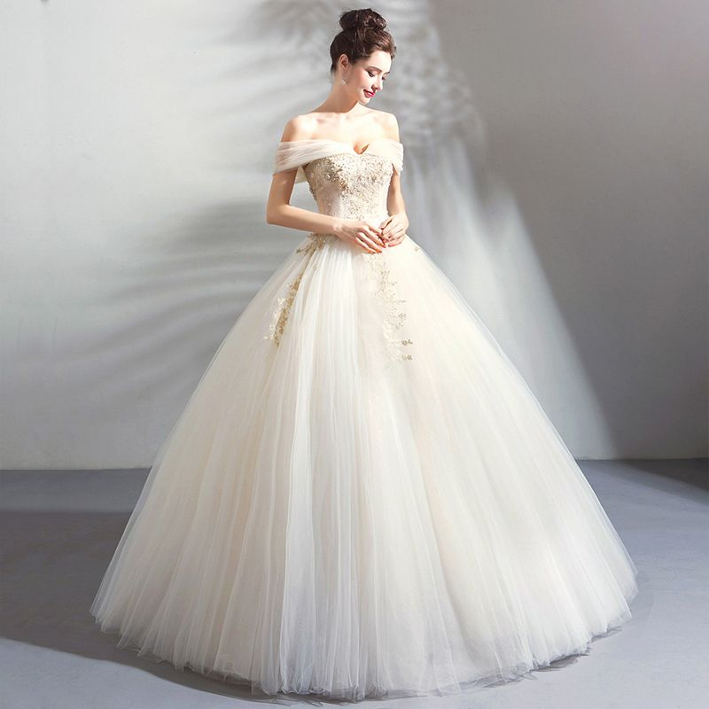 Classic Elegant White Champagne Floor-Length / Long Wedding 2018 Tulle Lace-up Appliques Backless Beading Strapless Ball Gown Wedding Dresses
