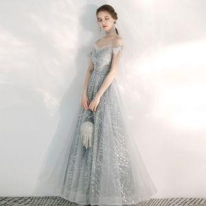 Eleganckie Srebrny Sukienki Wieczorowe 2020 Princessa Przy Ramieniu Kótkie Rękawy Aplikacje Cekiny Frezowanie Długie Wzburzyć Bez Pleców Sukienki Wizytowe