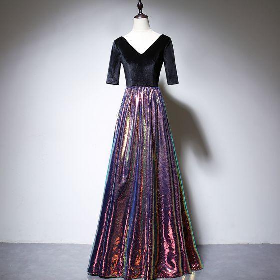 Farbig Multifarben Wildleder Abendkleider 2020 A Linie V-Ausschnitt 1/2 Ärmel Pailletten Lange Rüschen Rückenfreies Festliche Kleider