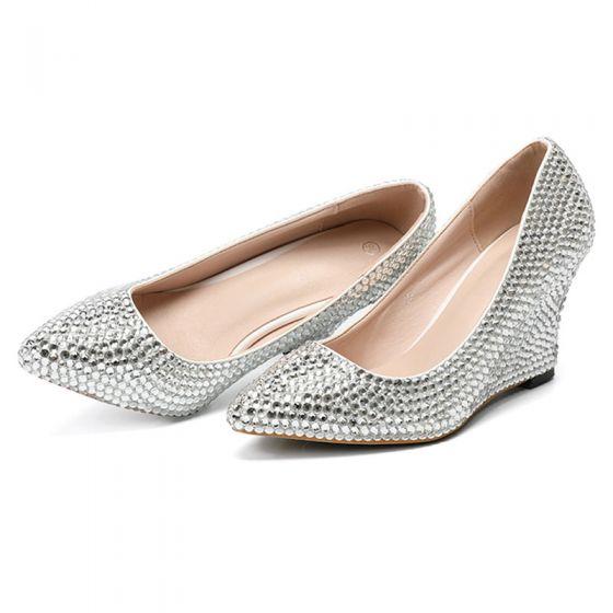 Brillante Plata Rave Club Rhinestone Zapatos De Mujer 2020 8 cm De Cuña Punta Estrecha