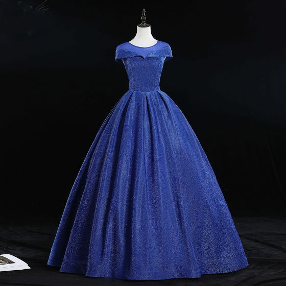 Elegant Royal Blue Prom Dresses 2019 Ball Gown Scoop Neck Glitter Tulle Cap Sleeves Backless Floor-Length / Long Formal Dresses