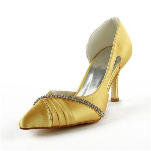 Glamoureuze Gouden Bruidsschoenen Satijnen Stiletto Pumps Met Strass