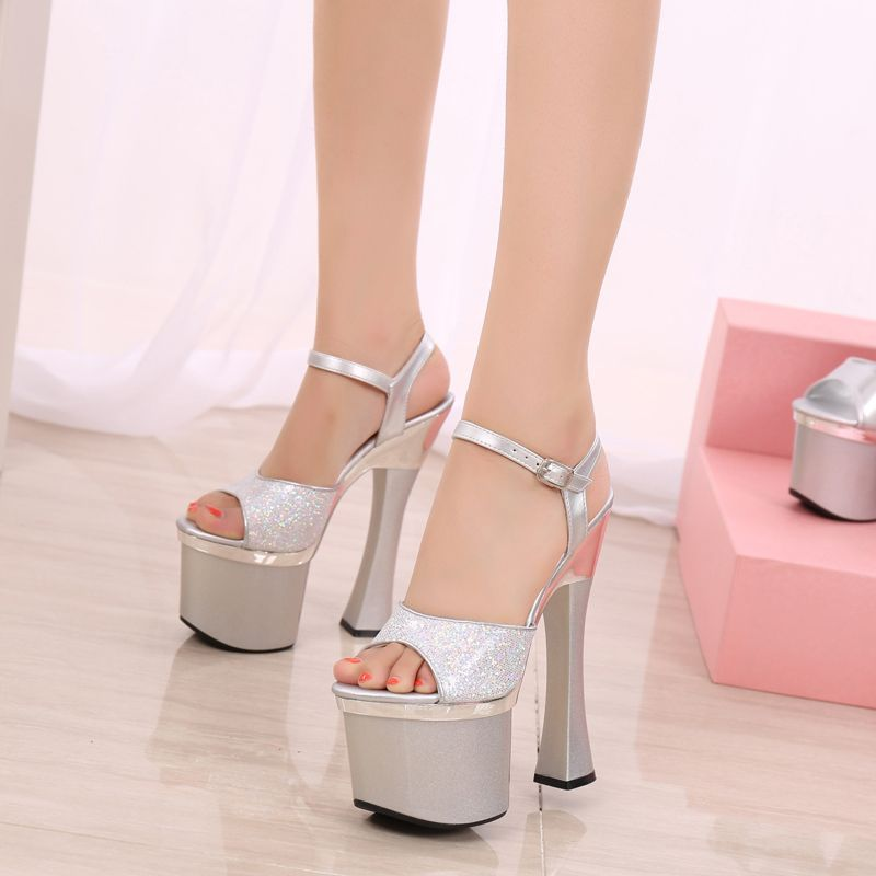 Classic 2017 Silver Cocktail Party PU Summer Sequins High Heels 10 cm / 4 inch Open / Peep Toe Pumps